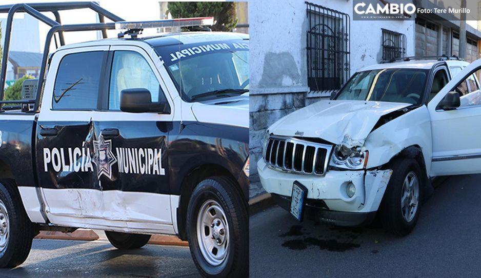 Choque entre patrulla y camioneta deja a un policía lesionado en Bulevar 5 de Mayo (VIDEO)