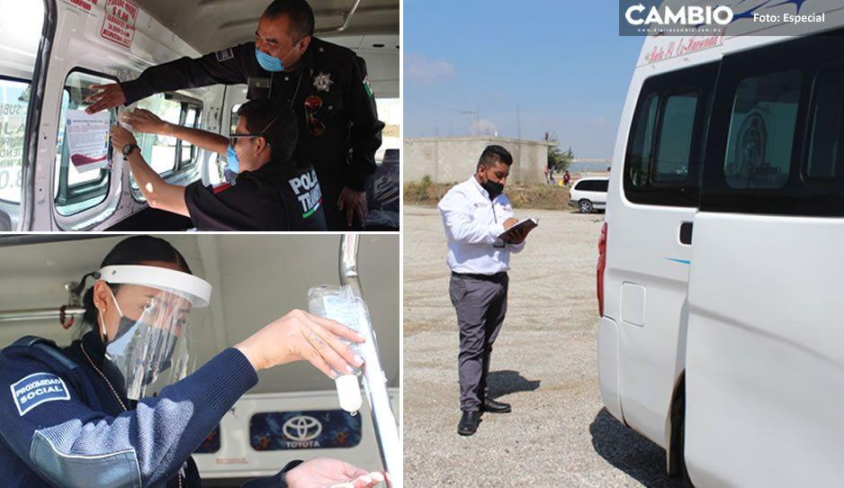 Realizan acciones de seguridad y prevención ante Covid-19 en transporte público de Amozoc