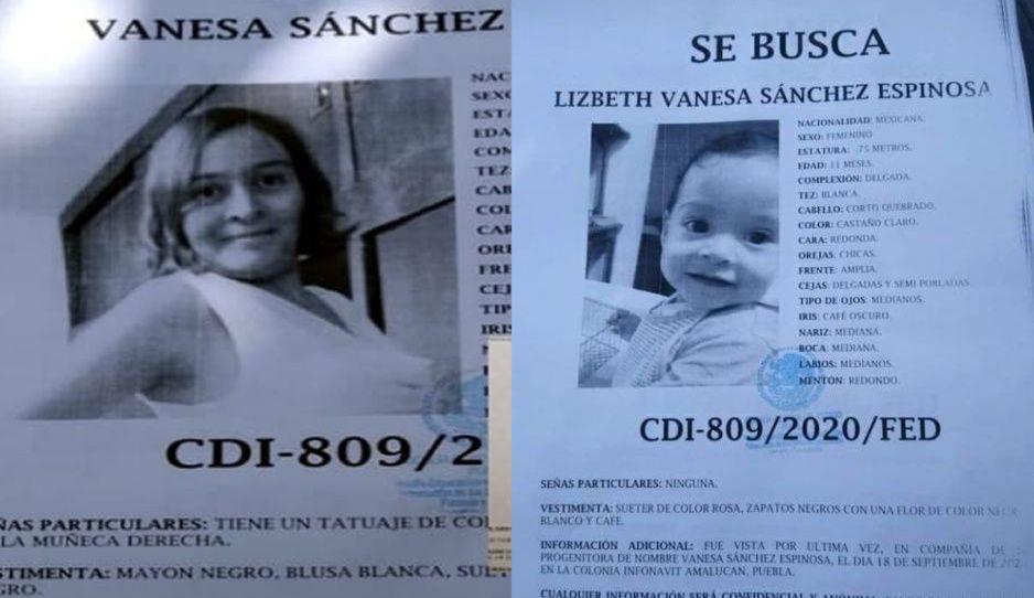 Desaparece Vanessa y su bebita en Amalucan, desde el 18 de septiembre nadie sabe nada de ellas