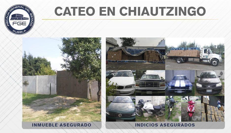 Recuperan mil 500 cajas de productos y vehículos robados en Chiautzingo