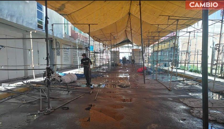 Organizaciones de tianguistas de Texmelucan realizan limpieza de sus áreas