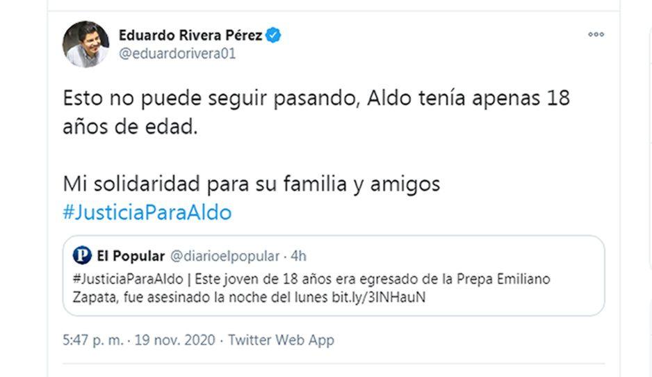 Lalo Rivera se suma a las demandas para exigir justicia por Aldo