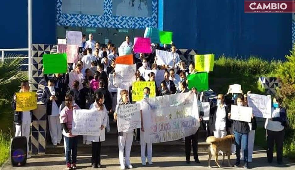 Protestan por falta de insumos trabajadores de la Secretaría de Salud en todo el estado ante Covid-19