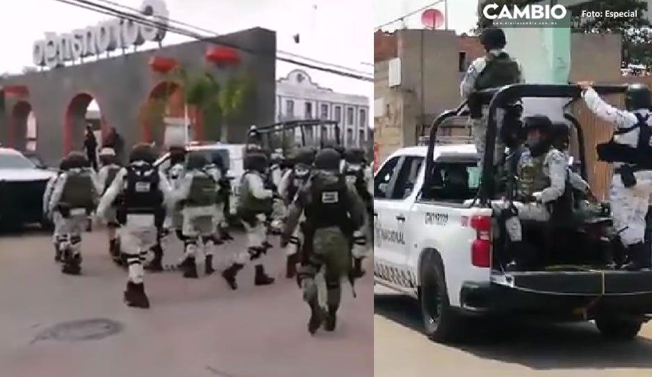 Guardia Nacional llega a Coronango ante feroces ataques de pobladores a la presidencia  (FOTOS y VIDEO)