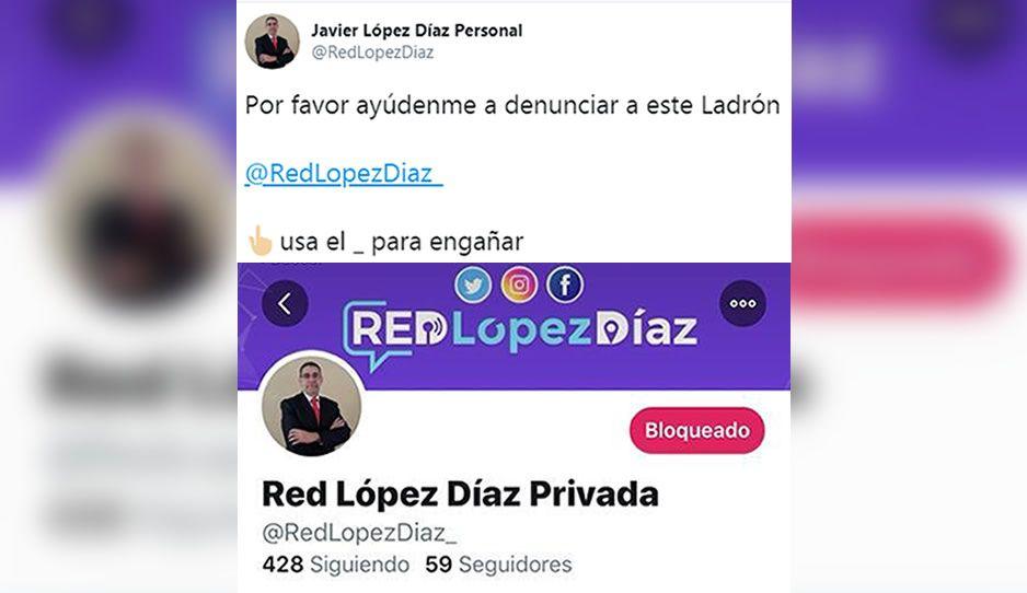 Roban a López Díaz la cuenta Twitter, pide ayuda para denunciar al ladrón