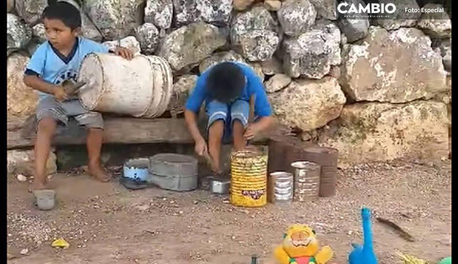 ¡La mejor banda del año! Niños yucatecos hacen música con latas rotas y cubetas viejas (VIDEO)