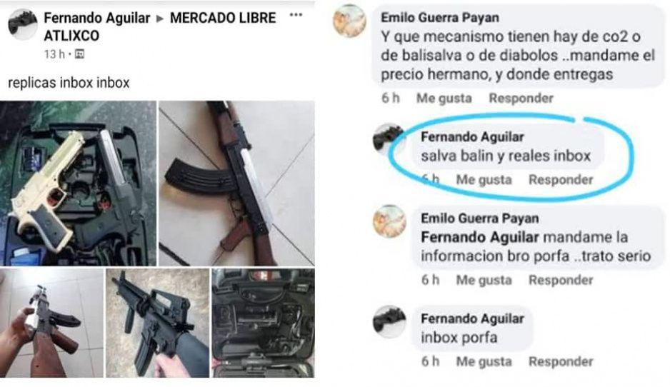Nivel de delincuencia en Atlixco: venden armas reales y hechizas en Facebook