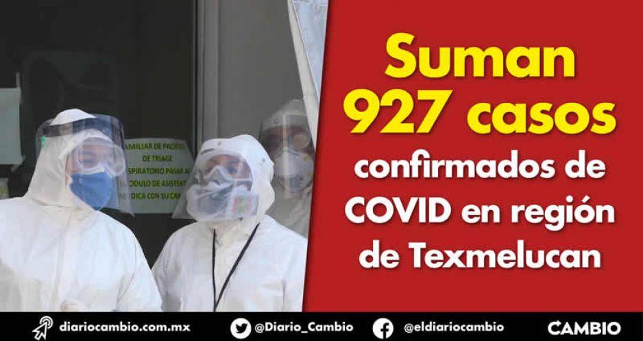 Suman 927 casos confirmados de  COVID en región de Texmelucan