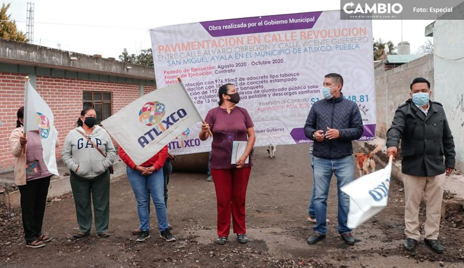 Inicia gobierno atlixquense pavimentación en la junta auxiliar de San Miguel Ayala
