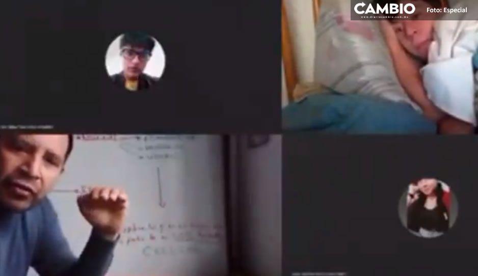Alumno toma sus clases online entre cobijas y profe solo se muere de la risa (VIDEO)