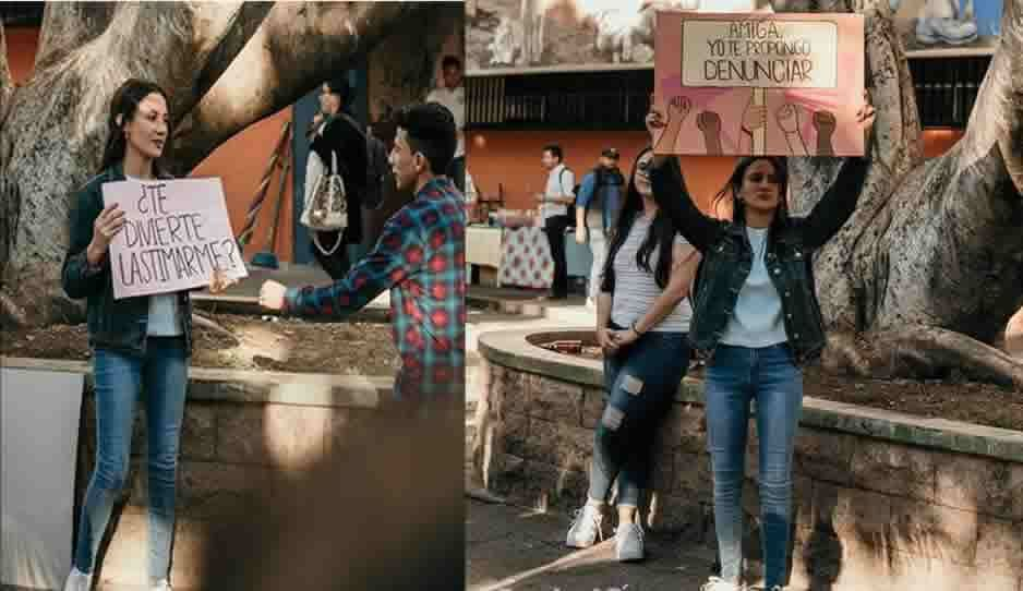 Con pancartas en la vía pública, estudiante poblana de la Usac denuncia maltrato de su novio tóxico
