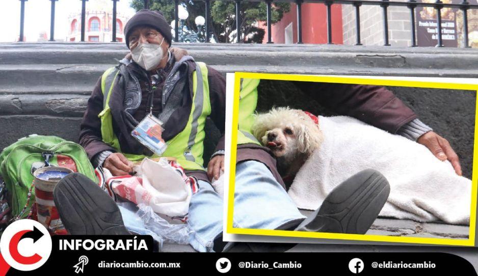Don Santo, el homeless que cuida a su perrita Carolina del frío (FOTOS)