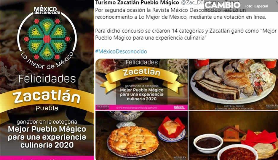 Nombra a Zacatlán como el mejor Pueblo Mágico en el Arte Culinario 2020