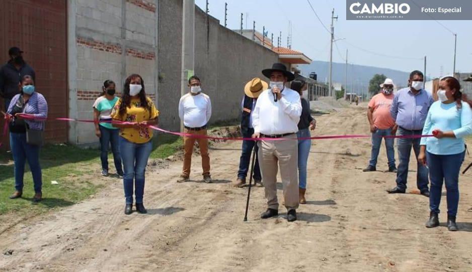 Mario de la Rosa entrega obra de drenaje en la localidad de San José La Laguna en Amozoc
