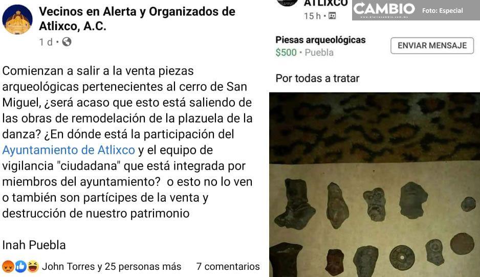 Ponen a la venta supuestas piezas arqueológicas en Atlixco; INAH investiga al respecto