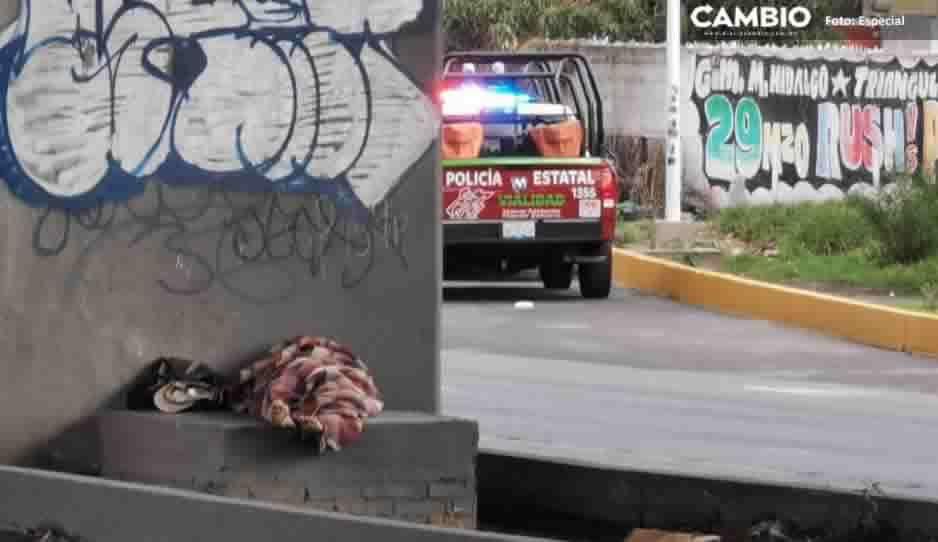 Envuelto en cobija, hallan a indigente muerto en la Puebla-México