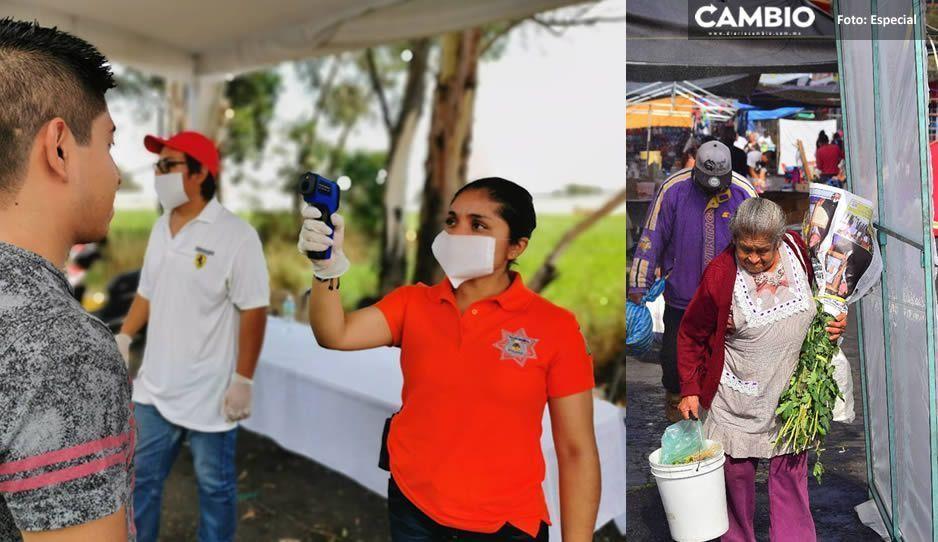 Aplica Gobierno Municipal proyecto piloto de Arco Sanitizante en el tianguis de Atlixco