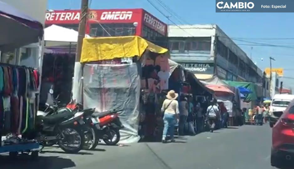 Se instalan comerciantes en Tianguis de Atlixco a pesar de la contingencia