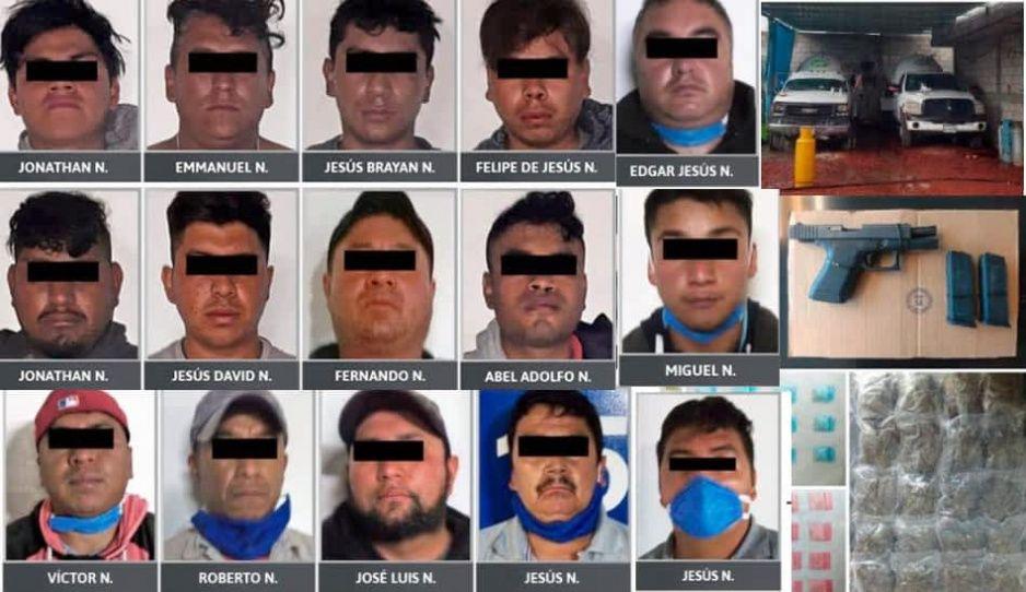 Caen 15 integrantes de bandas huachigaseras en Texmelucan