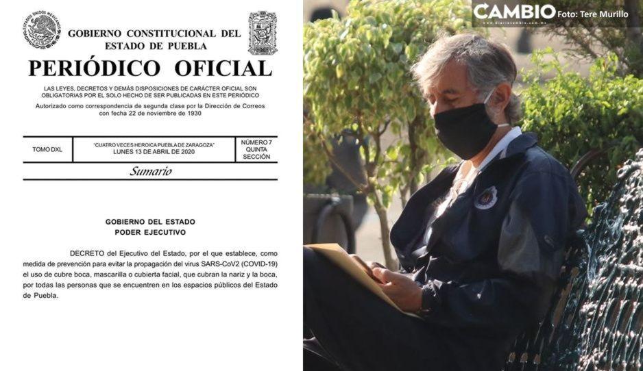 Gobierno de Puebla publica decreto oficial para uso obligatorio de cubrebocas