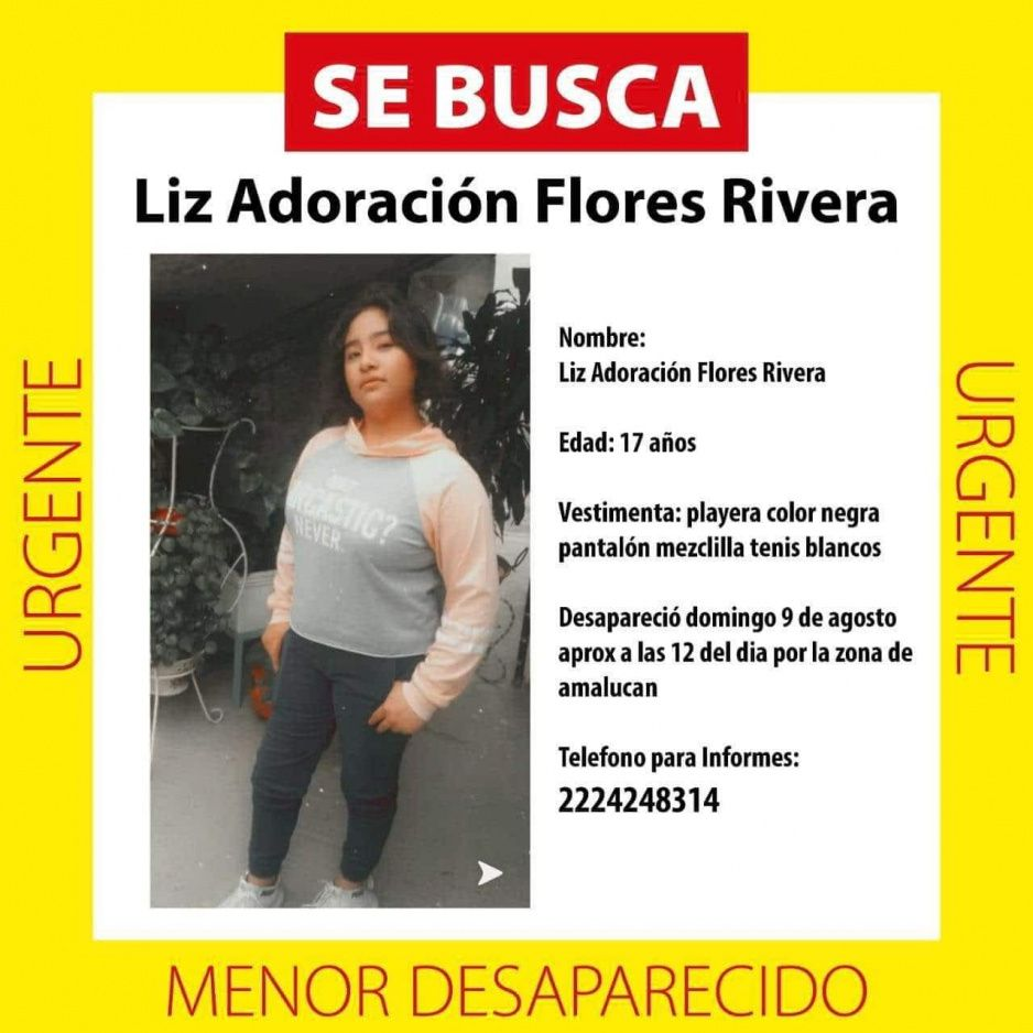 Desaparece Liz Adoración Flores Rivera ¡Ayudala a volver a casa!