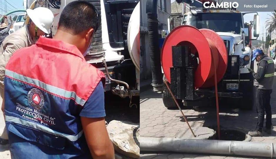 Gobierno de Amozoc garantiza servicios públicos, limpia y desazolve de drenajes