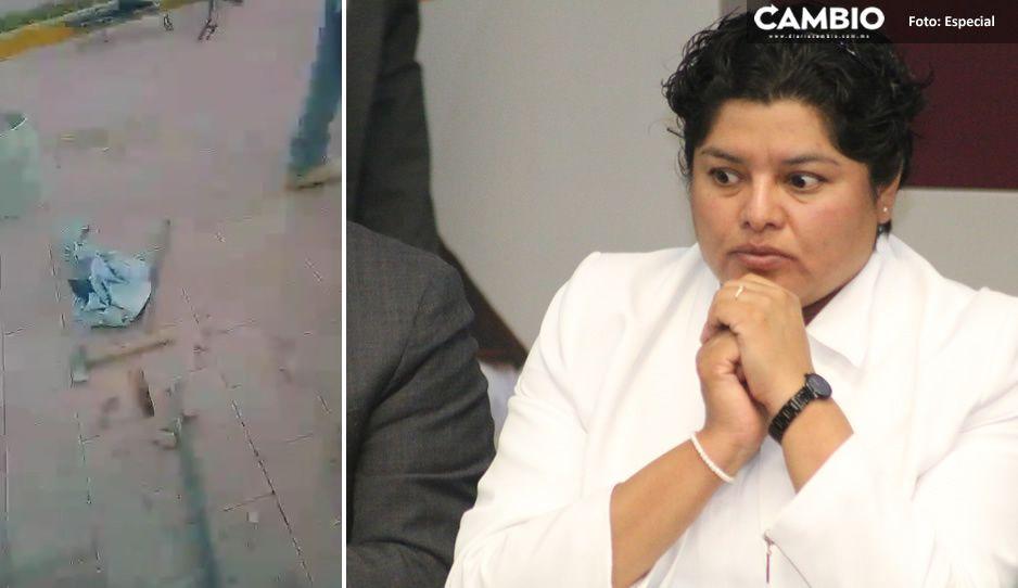 Exhiben mala calidad de obra pública de Karina Pérez en San Andrés Cholula (VIDEO)