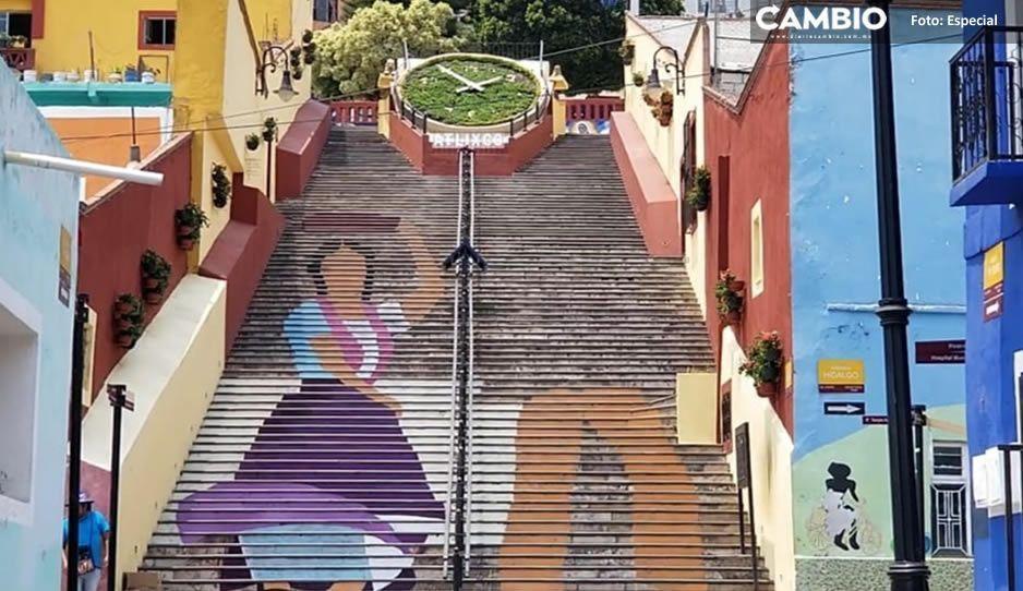 Colectivo gana premio y embellece las escaleras anchas en Atlixco