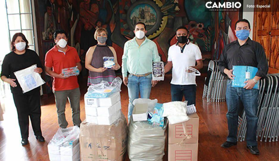 Gobierno de Carlos Peredo dona material de protección a delegación sindical del Hospital General de Teziutlán