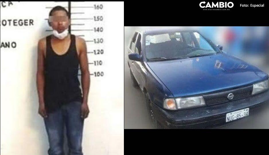Detienen a jovencito que conducía un auto robado en San Pedro Cholula