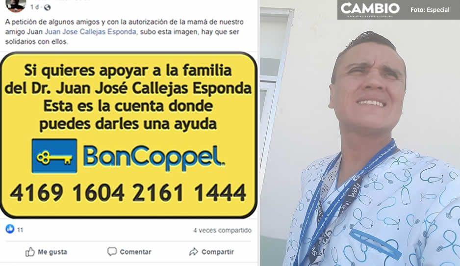 Amigos del médico héroe Juan José Callejas inician colecta para apoyar a su familia