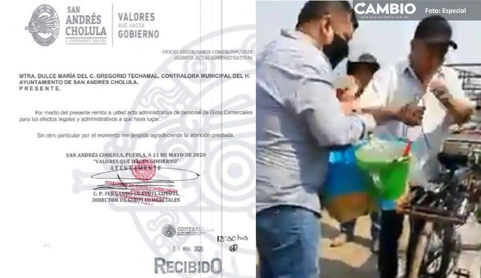 Levantan acta administrativa a inspectores abusivos que arrebataron tacos de canasta a señor en San Andrés Cholula