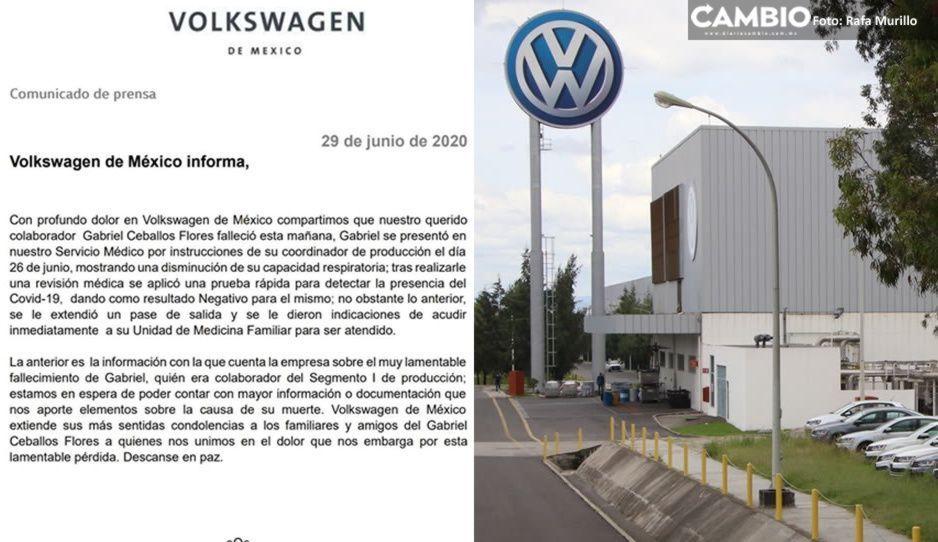 Confirma VW muerte de trabajador tras presentar síntomas de Covid en su planta de Cuautlancingo