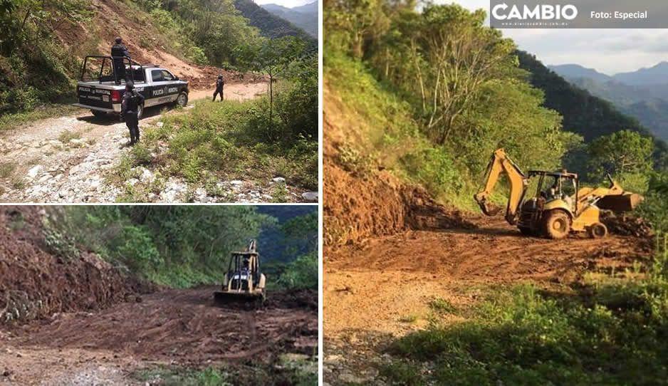Con maquinaria pesada reabren camino rural de Xicotepec; se dañó con las fuertes lluvias