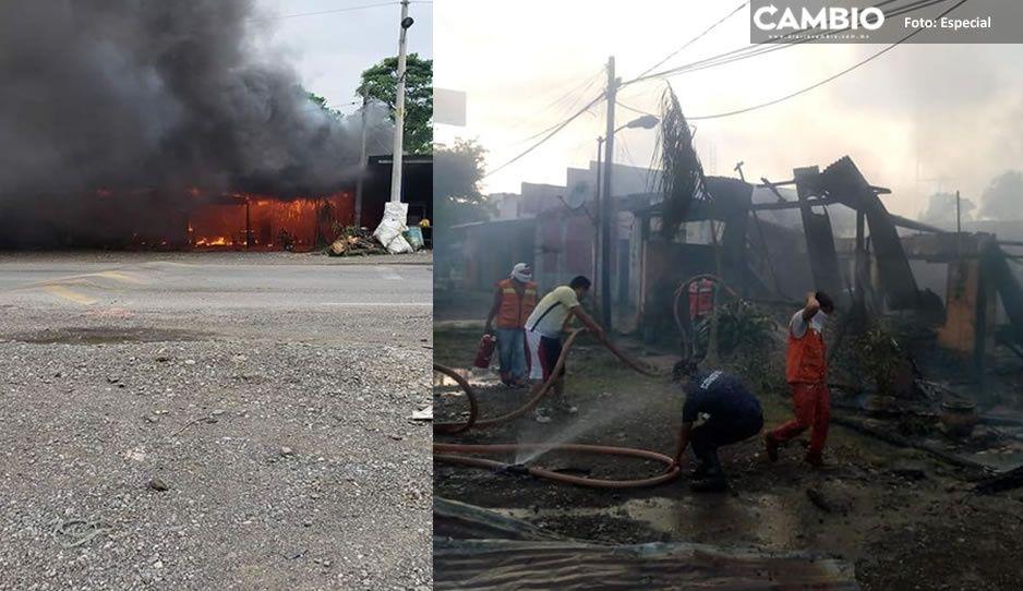 Terrible Incendio consume un negocio en el municipio de Venustiano Carranza