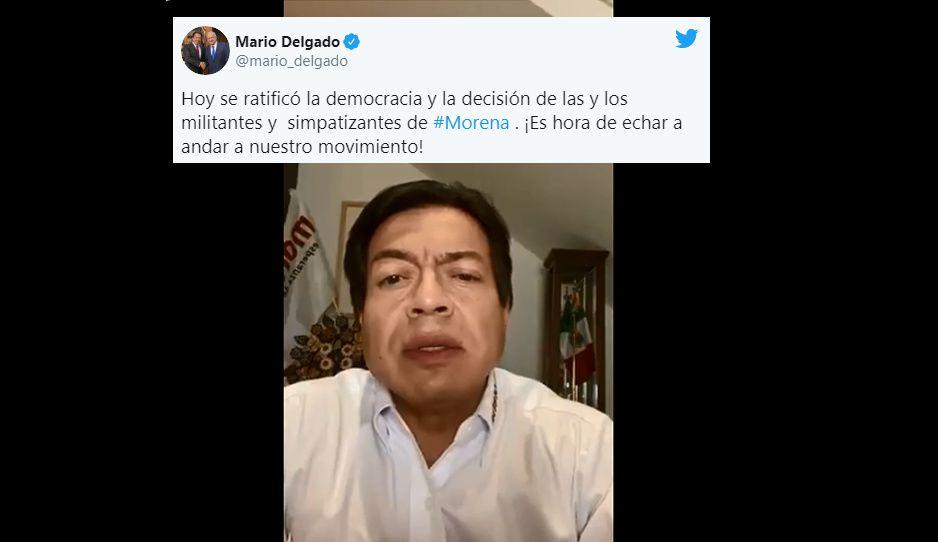 Mario Delgado celebra que TEPJF ratificara su triunfo como dirigente nacional de Morena (VIDEO)