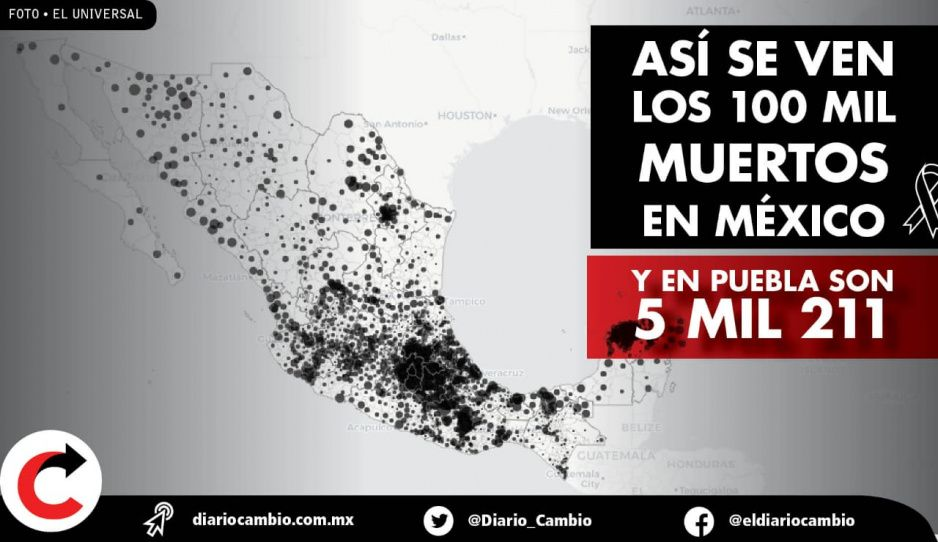 Así se ven los 100 mil muertos enMéxico, en Puebla son 5 mil 211 (VIDEOS)