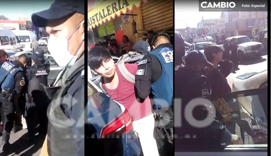 VIDEO: Escándalo en Atlixco por la detención de un joven que no usaba cubrebocas.