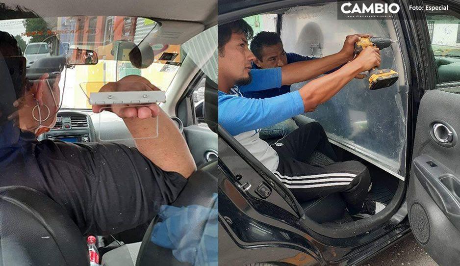 ¡Llévelo, llévelo! Taxista poblano crea protector contra asaltos y el coronavirus para automóviles