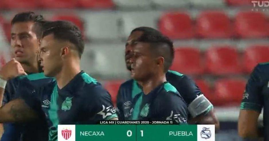 Puebla gana al medio tiempo 1-0 al Necaxa