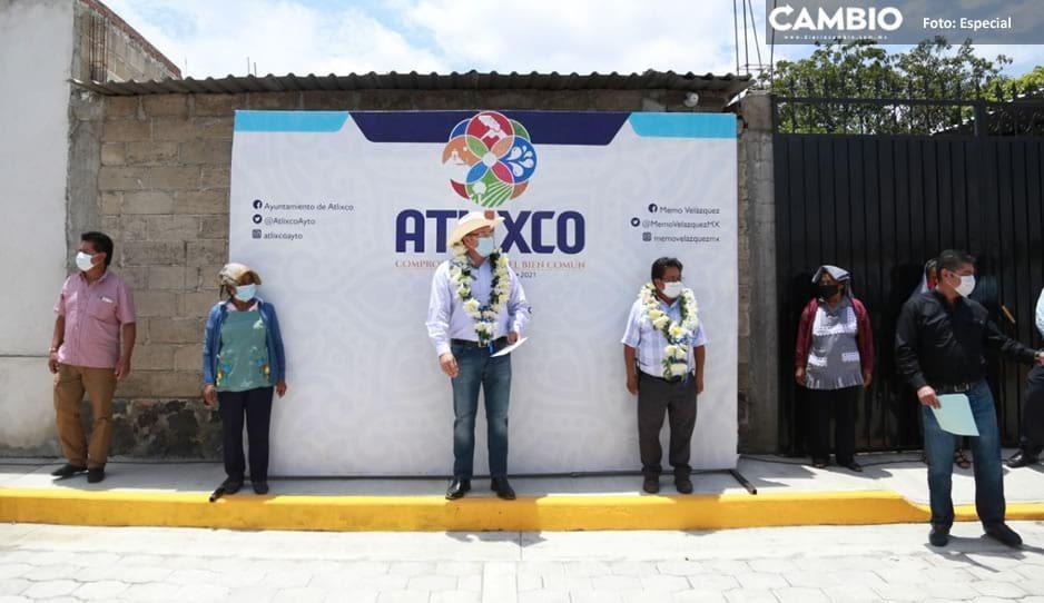 Inaugura Memo Velázquez adoquinamiento en San Jerónimo Coyula, Atlixco