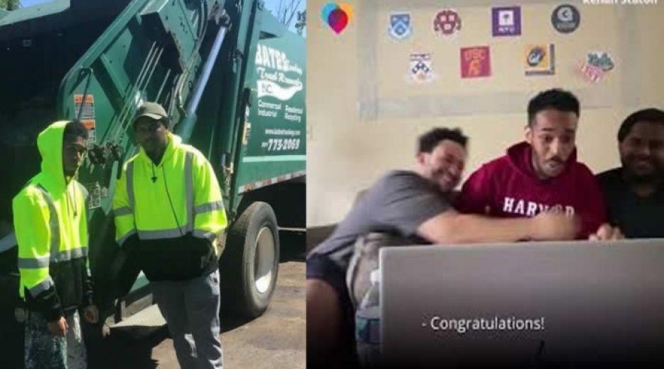 Recolector de basura logra ser aceptado en Harvard y esta es su reacción (VIDEO)