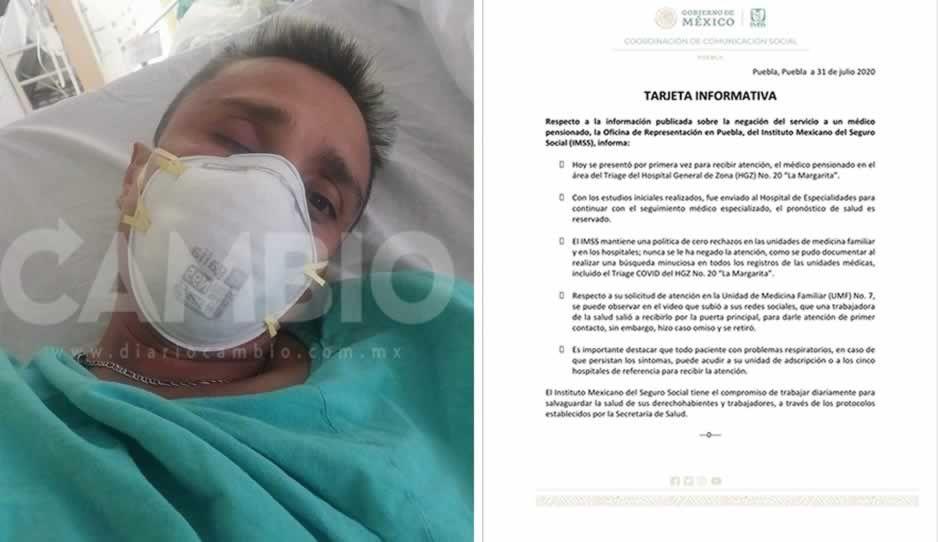 Médico héroe está internado y su pronóstico de salud es reservado: IMSS