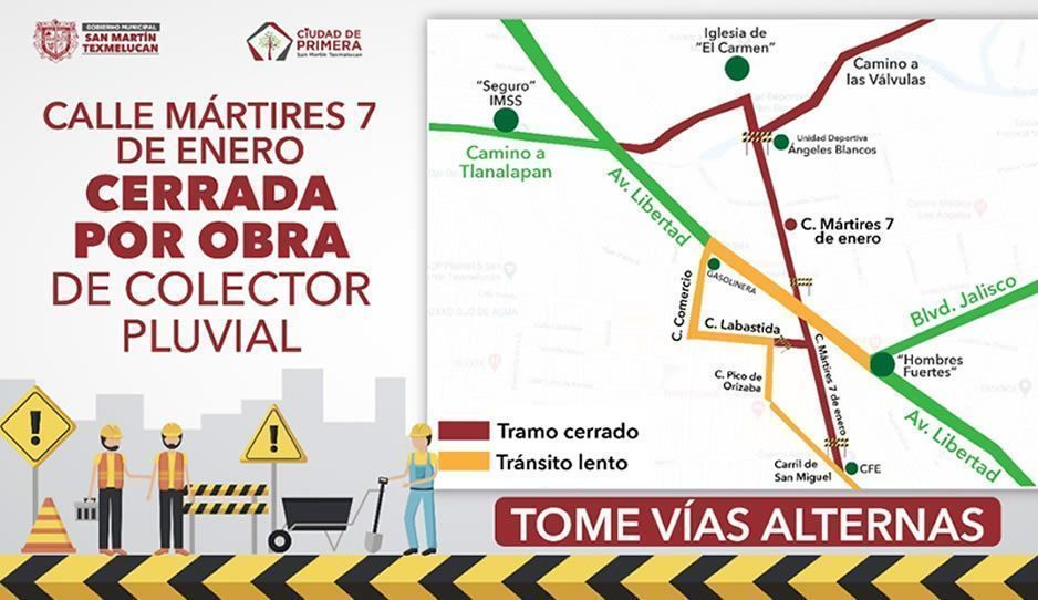 Gobierno de Texmelucan informa sobre los cortes de circulación por trabajos del colector pluvial