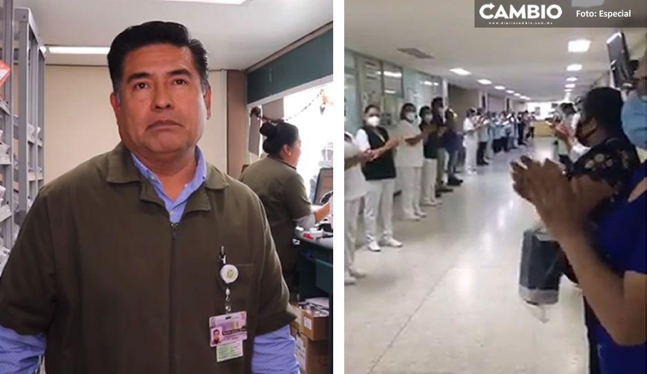 VIDEO: Con un minuto de aplausos despiden al Jefe Román del IMSS Amalucan tras fallecer por COVID