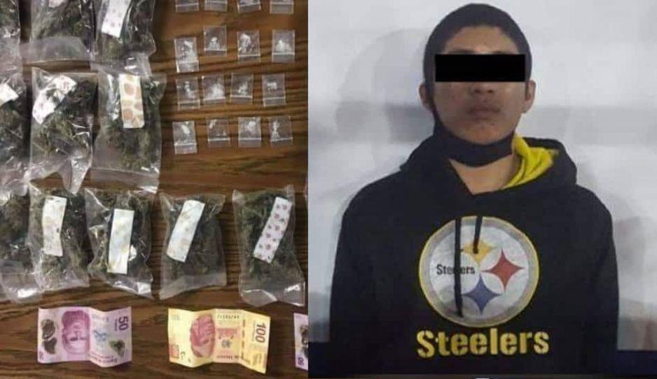 Los detienen con las manos en la masa, llevaban 32 dosis de droga en Atlixco