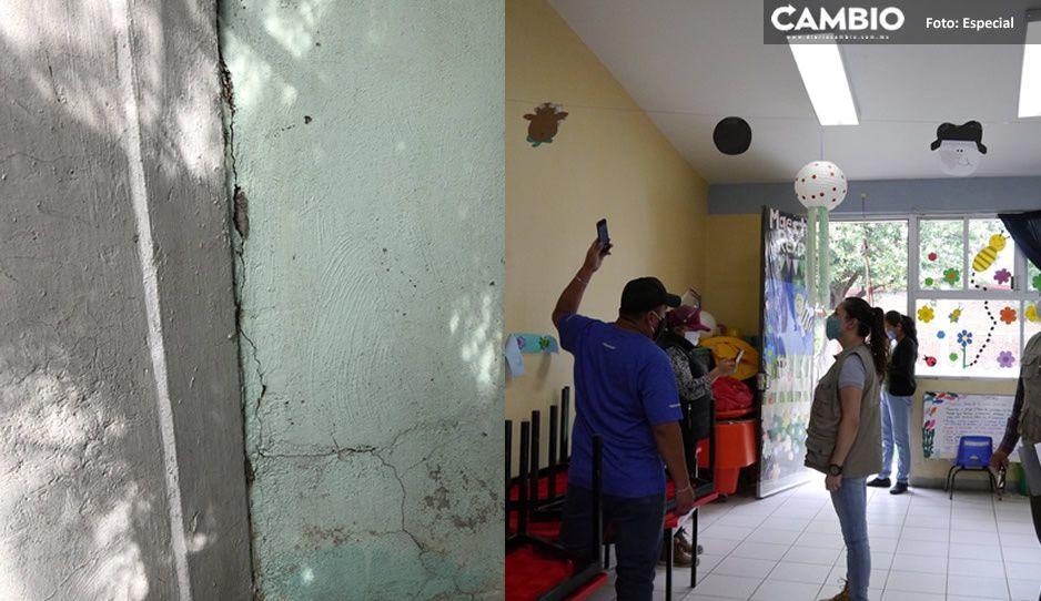 Jardín de niños de San Pedro Cholula sufre daños tras sismo de 7.5
