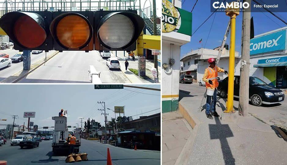 Renueva Ayuntamiento de Amozoc luces de semáforos utilizando tecnología LED