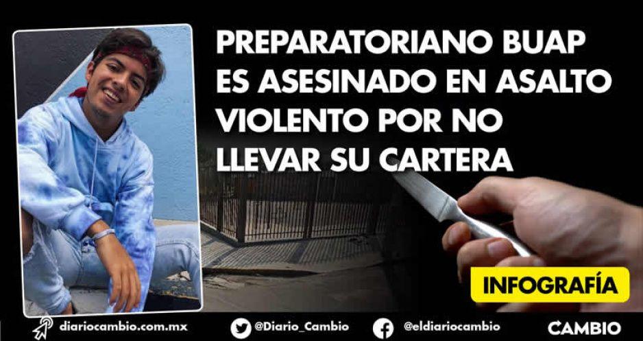 Preparatoriano BUAP es asesinado en asalto violento por no llevar su cartera