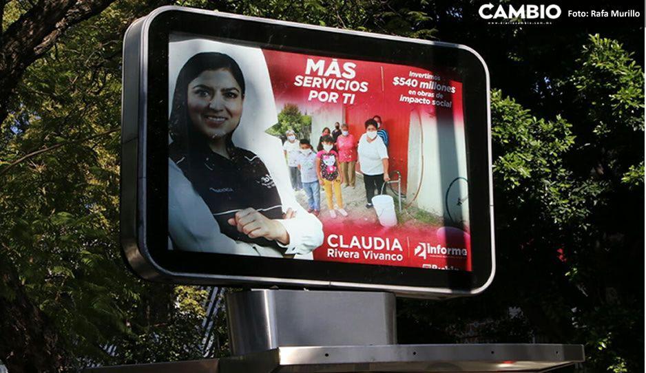Claudia en campaña: tapiza Puebla con promocionales de su segundo informe (FOTOS)